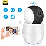Wireless Home Security Camera,HD 1080p Wifi IP Camera, Panoramic View Lens Wide Angle 355-Degree 2mp Two Way Audio Communication Night Vision Motion Detected For Pet Baby Home Office Monitor