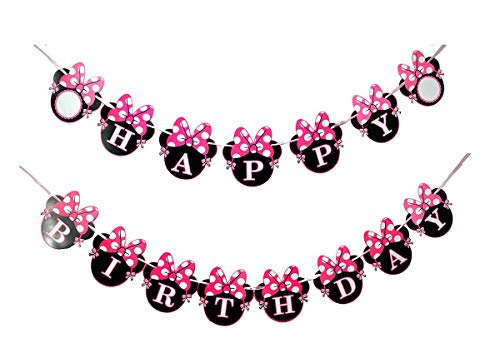 Minnie Mouse Banner (NEWTGAN Minnie Happy Birthday Banner, Mini Mouse Style Party Decorations, Party Supplies, Baby Shower Decor for Girls)