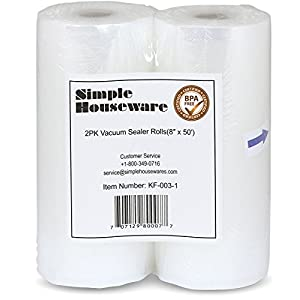 "SimpleHouseware Vacuum Sealer Rolls Food Storage Saver - 2 Pack 8"" x 50'"