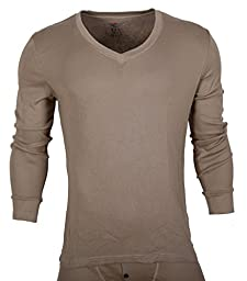 D&P Men's Long John Thermal Underwear Set Top & Bottoms (S, Apricot)