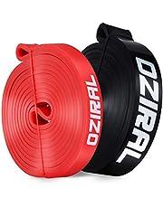Oziral Weerstandsbanden, Huidvriendelijke Weerstand Fitness Oefening Loop Bands met 2 verschillende weerstandsniveaus, Bijgestaan Fitness Pull Up Band voor Mannen en Vrouwen Lichaamstraining (Blakc & Rood)