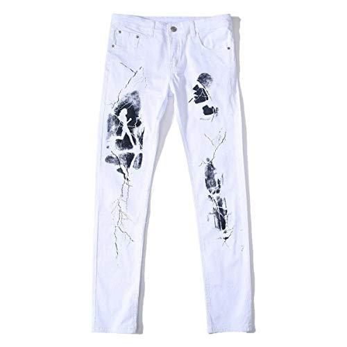 Da Libero Comodo Denim Tempo Bianca Stretch Uomo Dritti Cotone Slim Fit Jeans Pantaloni Battercake In nWBpHH