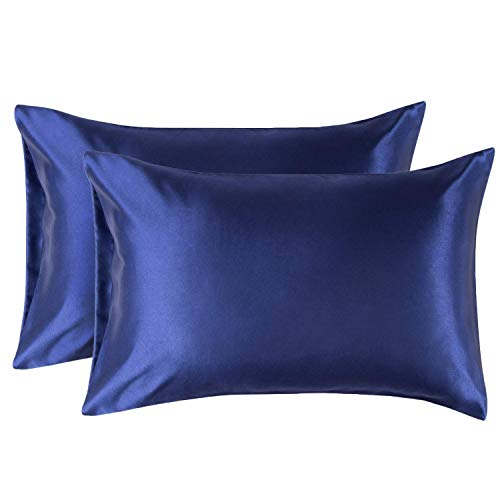 Bedsure Satin Pillowcase for Hair and Skin, 2-Pack - Queen Size (20x30 inches) Pillow Cases - Satin Pillow Covers with Envelope Closure, Navy Blue ()
