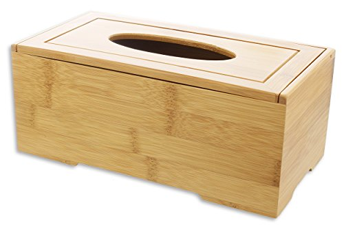 Le Juvo Bamboo Tissue Box Cover - Holds Most Rectangular Tissue Boxes, Modern Look and Finish - Wood Carved Design - 9.45 x 4.92 x 3.74 Inches by Le Juvo