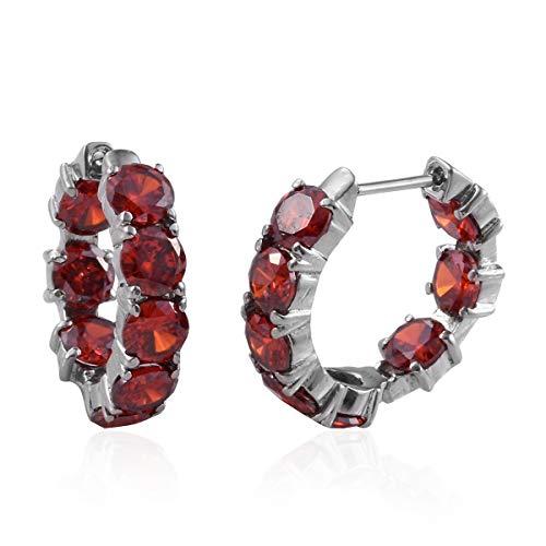 Stainless Steel Cubic Zircon CZ Orange Red Inside Out Huggie Hoop Earrings for Women Gift Jewelry Cttw ()