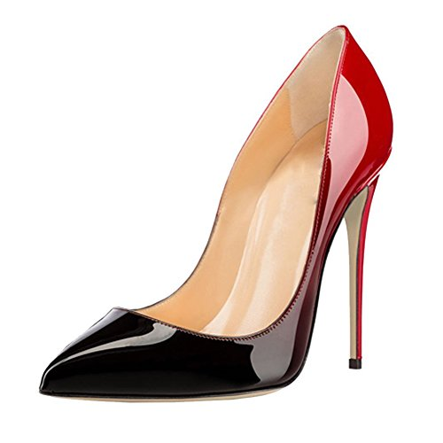 MINIVOG Womens Pointed Toe Pumps Stiletto High Heels Leather Dress shoes Blackred