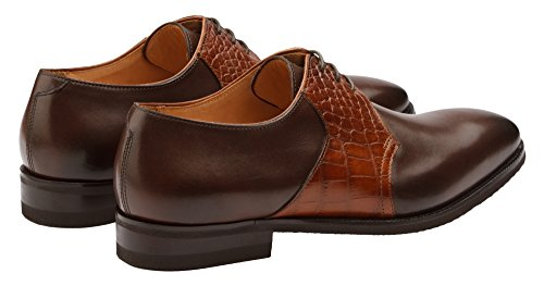 Oxford Brown Men's Leather Dark Leather Brogue Wingtip Pynn1lhToG Lined Shoes Dapper Genuine Shoes Handcrafted X8OxOz