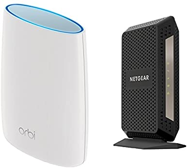 NETGEAR Orbi High-performance AC3000 Tri-band Mesh WiFi Router (RBR50) Bundle with NETGEAR CM1000 Ultra-High Speed Cable Modem – DOCSIS 3.1 certified for XFINITY by Comcast (CM1000)