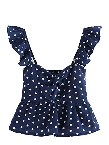 SheIn Women's Sleeveless Twist Knot Polka Dot Ruffle Hem Crop Tank Top Blouses Medium Navy