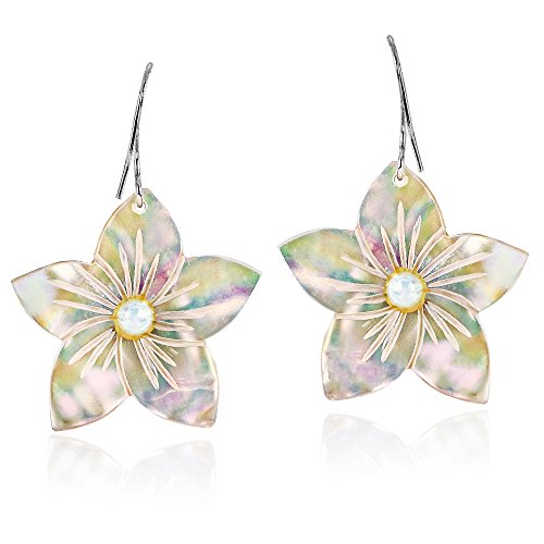 Delicate Hand Carved Mother of Pearl Flower with Faux Pearl Inlays Dangle Earrings ()