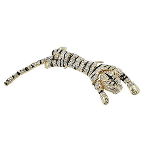 (EVER FAITH Austrian Crystal Enamel 10 Inch Wildlife Predator Tiger Animal Brooch Clear Gold-Tone)