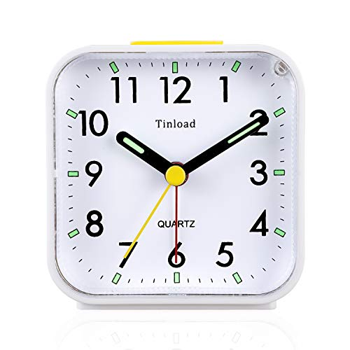 (Tinload Small Battery Operated Analog Alarm Clock Silent Non Ticking, Ascending Beep Sounds, Snooze,Light Functions, Easy Set(White))