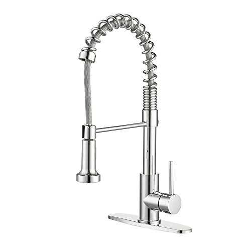 Enzo Rodi Modern Commercial Spring High-arc Lead-free Brass Pull-down Kitchen Sink Faucet with Pull-out Sprayer, Chrome, ()