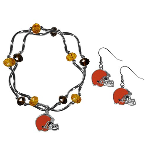 Siskiyou NFL Cleveland Browns Dangle Earrings & Crystal Bead Bracelet Set
