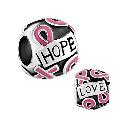 Lifequeen Faith Hope Love Charm Pink Ribbon Fight Breast Cancer Awareness Charms for Bracelets (Faith Hope Love-1) ()