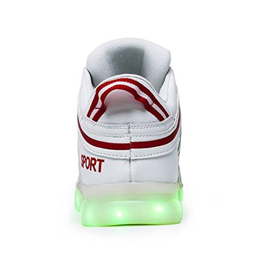 Nuove Donne Bianche Uomini Alta Cima 7 Colori Luce Up Ricarica Usb Scarpe Led Lampeggianti Sneakers 43