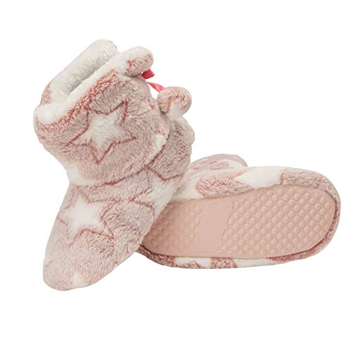 Jessica Simpson Girls Bootie Slippers - Fuzzy Comfy Plush Memory Foam Star Booties Anti-Slip House Slipper Shoe (Pink, Size Large) (Slipper Booties For Girls)