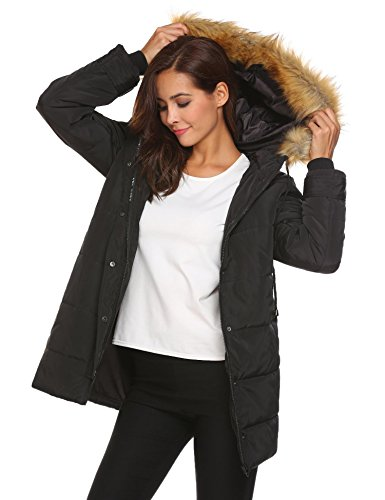 Parka Feather Winter Jacket Coat Black Long Woman imbottito impermeabile Superlight Meaneor x4wH8YqY