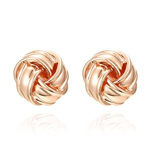 (PAVOI 14K Rose Gold Plated Sterling Silver Post Love Knot Stud Earrings | Gold Earrings for Women )