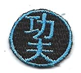 1 X 1 inches Chinese character word KUNG FU blue black circle Embroidered Iron On / Sew On Patch Applique
