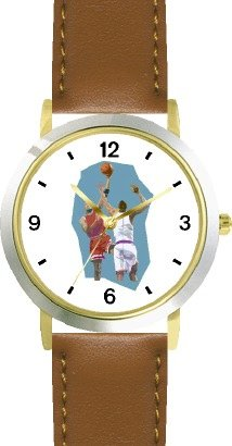 High Action Basketball Art No.4 Basketball Theme - WATCHBUDDY DELUXE TWO-TONE THEME WATCH - Arabic Numbers - Brown Leather Strap-Women's Size-Small by WatchBuddy