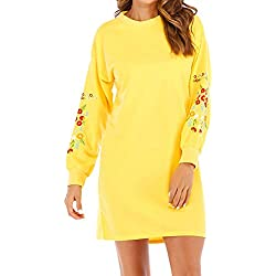 FEITONG Women Autumn Winter Casual Long Sleeve Floral Embroidery Sweatshirt Dress(Large,Yellow)