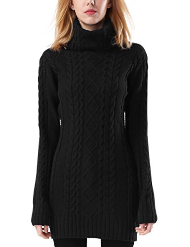Rocorose Women's Turtleneck Sweater Jumper Cable Knitted Long Sleeves Black L (Black Jumper Long)
