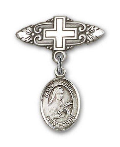 Icecarats Créatrice De Bijoux En Argent Sterling St. Theresa Broche De Badge Charme Avec Une Croix X 3/4
