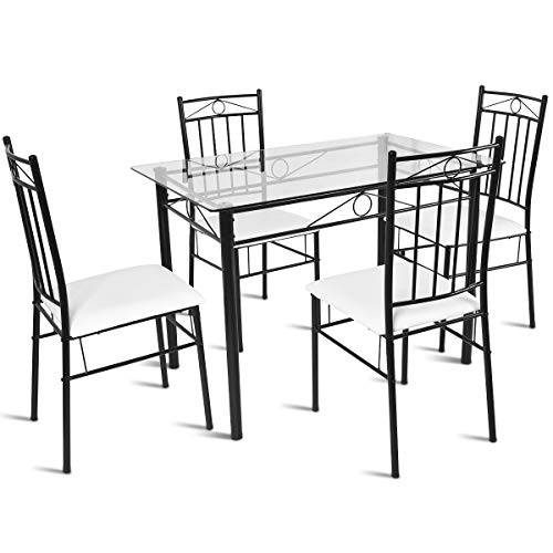 Tangkula 5 Piece Dining Table Set Glass Top Metal Dining Set Kitchen Breakfast Furniture Dinning Table with Chairs ()