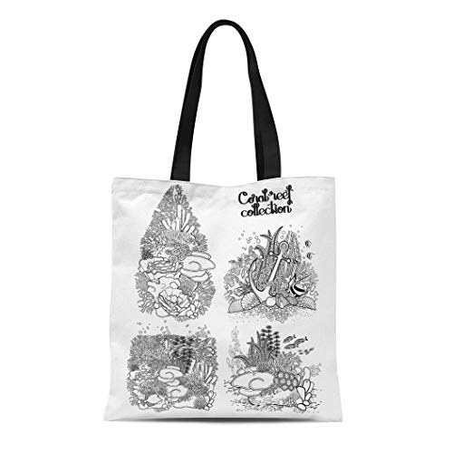 Semtomn Cotton Canvas Tote Bag Coral Reef Collection Drawn in Line Sea and Ocean Reusable Shoulder Grocery Shopping Bags Handbag Printed]()