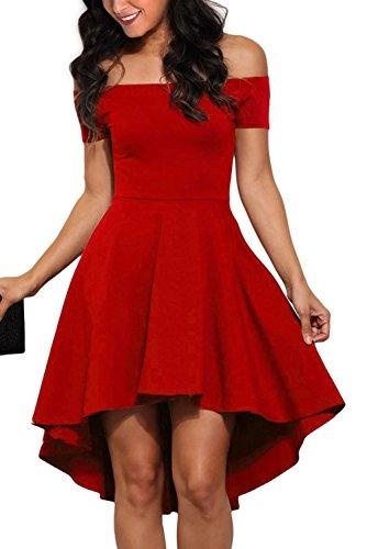 Chase Secret Womens Off Shoulder Short Sleeve High Low Skater Dress Medium Red