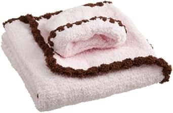 kyle & deena Baby-Girls Newborn Popo Chenille Blanket with Cap On Plastic Hanger, Pink/Brown, One Size
