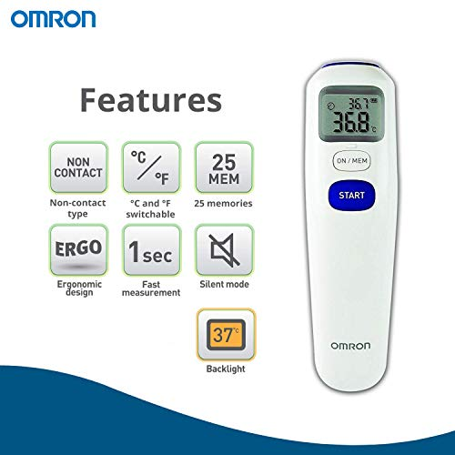 Amazon.com: Omron Mc-720 Non-Contact Forehead Thermometer: Health & Personal Care