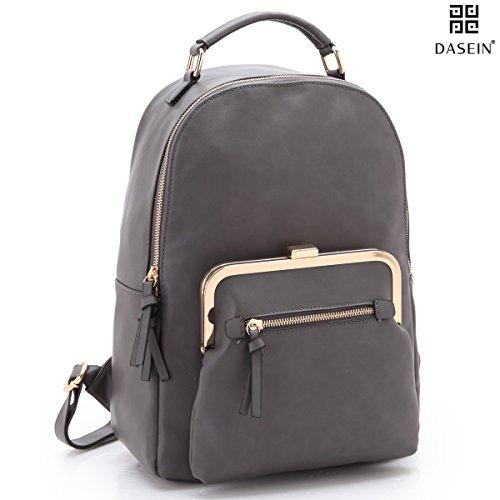 Dasein Womens Fashion Backpack Casual Backpack Laptop Bag School Backpack Designer Shoulder Purse (Lock Twist Leather)