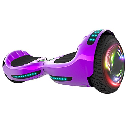 Hoverboard UL 2272 Certified Flash Wheel 6.5' Wireless Speaker with LED Light Self Balancing Wheel Electric Scooter (Chrome Violet)