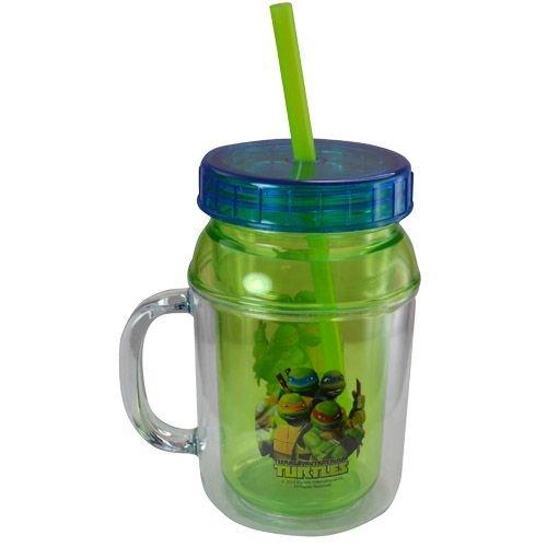 Nickelodeon Tmnt Ninja Turtle Children Kids 12oz Canning Jar Double Walled Lid & Straw Tumbler
