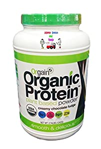 Orgain Organic Plant-Based Protein Powder, Creamy Chocolate Fudge, 2.74 Pound