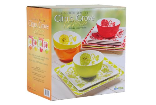 Laurie Gates: Citrus Grove - 12 Piece Melamine Dinnerware Set