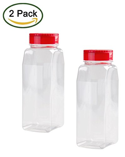 2 Pack - 32 OZ Clear Plastic Spice Bottles Jars Containers - Flap Cap, Pour and Sifter Shaker, Refillable. Perfect For Storing and Dispensing Herbs and Spices - BPA Free