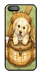 iPhone 5S Case and Cover -Puppy Backpack Custom PC Hard Case Cover for iPhone 5/5S Black