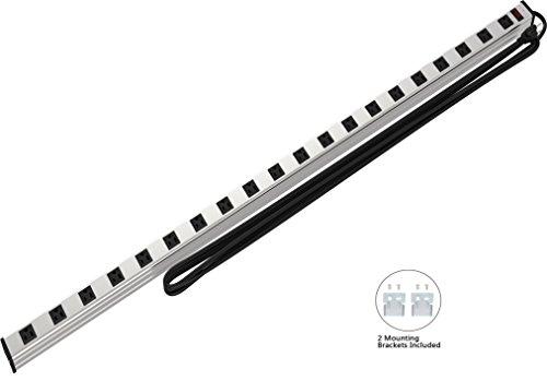 Extension Cord Circuit Breaker - Oviitech 20 Outlets Heavy Duty Metal Socket Power Strip, 15-Foot Long Extension Cord with Circuit Breaker. Mounting Brackets Included,Workshop/Industrial use,ETL Certified
