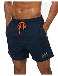 Imixshopcs Mens Swimsuit Beach Shorts, Quick Dry Board Shorts with Mesh Lining
