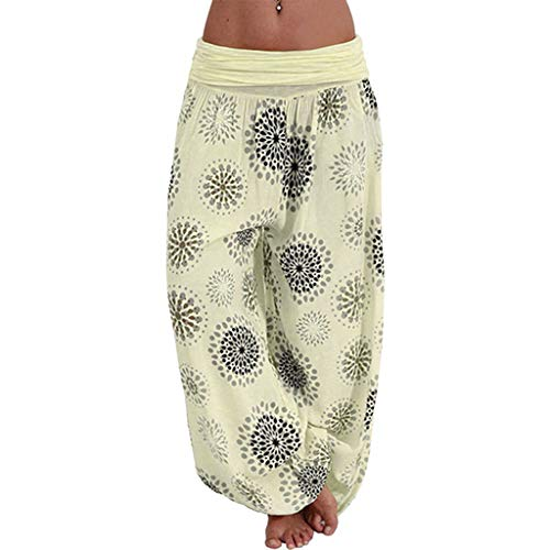 JOFOW Harem Pants Womens Hippie Casual Boho Sunflowers Floral Print Pleated Bloomers Long Low Waist Yoga Saggy Trousers Gift (2XL,Light)