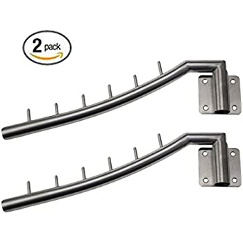 bosszi 2 pack stainless steel clothes hanger with swing arm holder clothing hanging system duty drying rack wall mount wall hangers for clothesbrushed - Clothes Wall Hanger