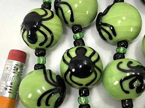Halloween Design Spider Handmade Green 15x16mm Round Lampwork Glass Beads (6 Beads Pack)