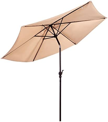 Giantex 10ft Solar Patio Umbrella Sunbrella Without Lights, 6 Ribs Market Steel Tilt w Crank for Garden, Deck, Backyard, Pool Indoor Outdoor Use