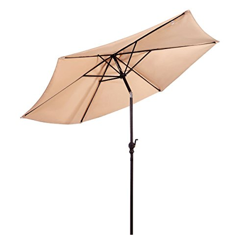 Giantex 10FT Patio Umbrella 6 Ribs Market Steel Tilt W/Crank Outdoor Garden