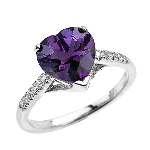 Dainty 14k White Gold Solitaire Heart Amethyst and Diamond Engagement Proposal Ring (Size (Gold Heart Diamond Solitaire Ring)