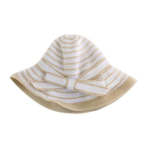 hositor Fascinator Hats for Women, Ladies Women Casual Wide Brimmed Floppy Foldable Striped Summer Sun Beach Hat