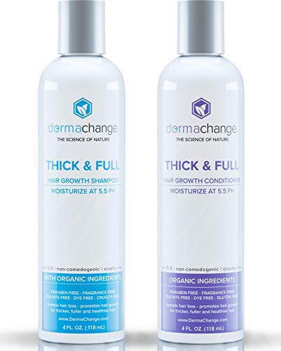 Organic Vegan Hair Growth Shampoo and Conditioner Set - Natural Hair Regrowth with Vitamins - Hair Loss & Thinning Products - Curly or Color Treated Hair - For Men and Women - Sulfate Free (4oz) ()